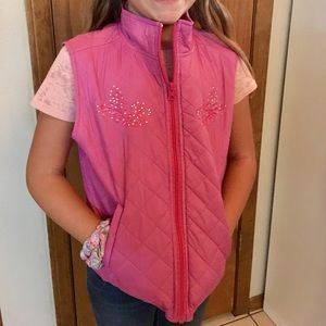 Girls Pink Vest with Rhinestones